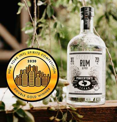 Coconut Rum Bottle 2020 Double Gold Winner Pinkerton's Distillery