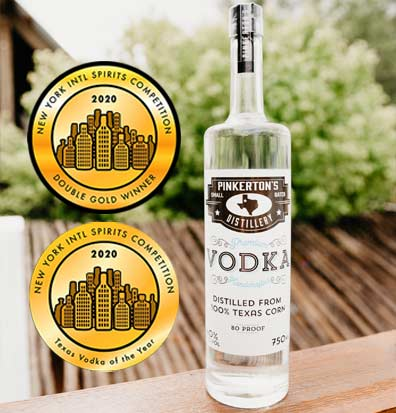 Texas Vodka of the Year Bottle Pinkerton's Distilllery